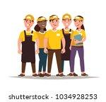 restaurant fast food worker .... | Shutterstock .eps vector #1034928253
