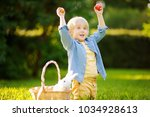 charming little boy hunting for ... | Shutterstock . vector #1034928613