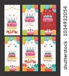 pack of happy birthday card... | Shutterstock .eps vector #1034932054