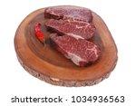 three fresh raw marble beef... | Shutterstock . vector #1034936563
