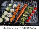 fresh raw vegetable kebab on... | Shutterstock . vector #1034936686