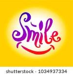 smile lettering hand drown...   Shutterstock .eps vector #1034937334