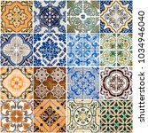 colorful vintage ceramic tiles... | Shutterstock . vector #1034946040