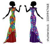 graceful stylish young ladies... | Shutterstock .eps vector #1034947468