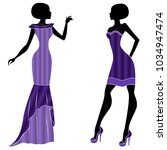 graceful young ladies in long... | Shutterstock .eps vector #1034947474