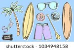 surfing doodles. summer... | Shutterstock .eps vector #1034948158