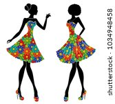 graceful stylish young models... | Shutterstock .eps vector #1034948458