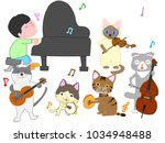 Stock vector a cat s concert a cat is playing an instrument 1034948488
