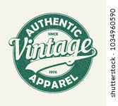 vintage authentic apparel... | Shutterstock .eps vector #1034960590