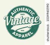 vintage authentic apparel... | Shutterstock .eps vector #1034960590