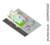 isometric hospital with street... | Shutterstock .eps vector #1034969260
