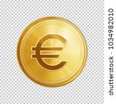 gold euro coin. circle coin... | Shutterstock .eps vector #1034982010