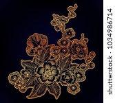 dark enchanted vintage flowers. ... | Shutterstock .eps vector #1034986714