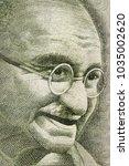 mahatma gandhi portrait on 500... | Shutterstock . vector #1035002620