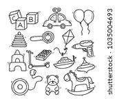 cute hand drawn children toy... | Shutterstock .eps vector #1035004693