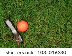 orange golf ball and putter on... | Shutterstock . vector #1035016330