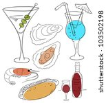vector food and beverages on a... | Shutterstock .eps vector #103502198
