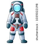 cartoon astronaut isolated on a ... | Shutterstock .eps vector #1035022198