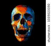 Stylized Stripe Low Poly Skull...