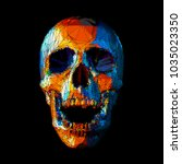 stylized stripe low poly skull... | Shutterstock .eps vector #1035023350