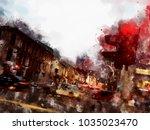 town street landscape vector... | Shutterstock .eps vector #1035023470