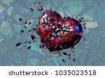 red polygonal broken heart on... | Shutterstock .eps vector #1035023518