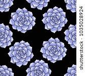 succulent seamless doodle... | Shutterstock .eps vector #1035028924