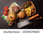 tasty grilled home made burgers ... | Shutterstock . vector #1035029683