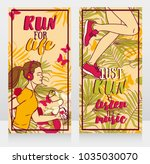 two cards for jogging  running... | Shutterstock .eps vector #1035030070