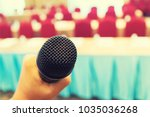 microphone over the abstract... | Shutterstock . vector #1035036268