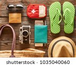 Small photo of Travel and beach items flat lay still life