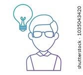 bulb light idea with man | Shutterstock .eps vector #1035043420