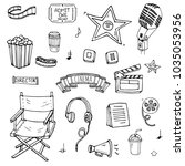 hand drawn doodle cinema set.... | Shutterstock .eps vector #1035053956