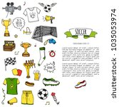 hand drawn doodle soccer set... | Shutterstock .eps vector #1035053974