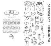 hand drawn doodle soccer set... | Shutterstock .eps vector #1035053980
