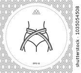 women waist with measuring tape ... | Shutterstock .eps vector #1035054508