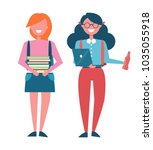 students poster with female... | Shutterstock .eps vector #1035055918
