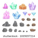 set of color crystals and... | Shutterstock .eps vector #1035057214