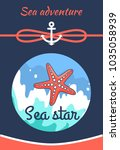 sea adventure poster with title ... | Shutterstock .eps vector #1035058939