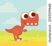 cute t rex on the field.... | Shutterstock .eps vector #1035059668