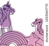 cute unicorn with rainbow and... | Shutterstock .eps vector #1035065770