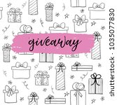 giveaway card for blogs.... | Shutterstock . vector #1035077830