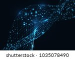 futuristic particles and lines... | Shutterstock .eps vector #1035078490