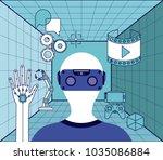 virtual reality technology set... | Shutterstock .eps vector #1035086884