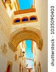 sitges town hall and church ...   Shutterstock . vector #1035090403