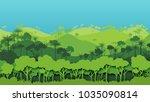green silhouette forest...   Shutterstock .eps vector #1035090814