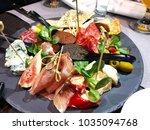 italian antipasti wine snacks... | Shutterstock . vector #1035094768