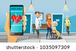 hospital and old patients... | Shutterstock .eps vector #1035097309