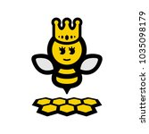 bee queen with crown and hive | Shutterstock .eps vector #1035098179
