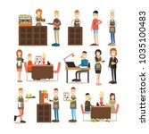 coffee house icon set with... | Shutterstock . vector #1035100483
